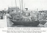 Sampans Moored at Singapore Waterfront