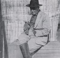 Frank Buck with Leopard Cub