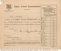 Upper School Examination : report card of Doris McCarthy