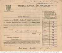 Middle School Examination : report card of Doris McCarthy