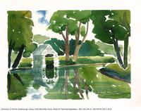 Reflection of the gazebo and trees [signed watercolour by Doris McCarthy]
