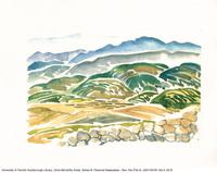 Rolling hills in watercolour