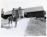 UTSC's stable with woman riding a horse