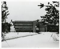 Exterior main entrance of original Scarborough College in the winter