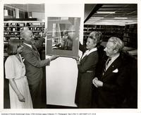 Portrait of V.W. Bladen, opening of library, Principal Joan Foley, UofT President James Milton Ham, Margaret Birch, MP and Scarborough Mayor Gus Harris. Scarborough College
