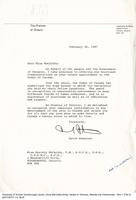 Letter of congratulations from David Peterson, Premier of Ontario