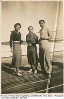 Doris McCarthy with two friends on the deck