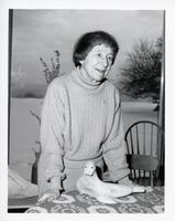 Artist Doris McCarthy with sculpture