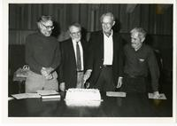 Faculty members Bob James, Bert Forrin, Peter Moes, and Gerry Israelstam