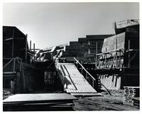 Construction of original Andrews building, view of Science Wing with ramps and scaffolding