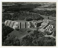 Aerial shot of the Humanities, Science and Recreation Wings