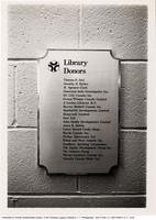 Donor Plaque in V.W. Bladen Library