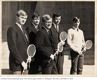 Men's Badminton Team in Front of Humanities Wing