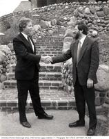 Principal Paul Thompson with President Robert Pritchard in front of Miller Lash House